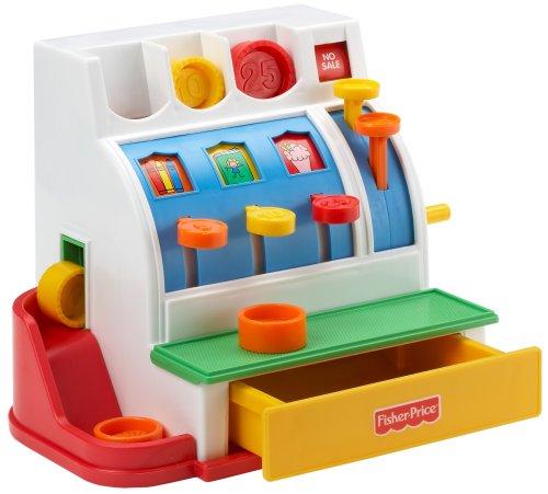 Fisher-Price 72044 Registrierkasse Spielkasse mit Klingelgeräusch inkl. Münzen für Rollenspiel Kaufladenzubehör, ab 2 Jahren