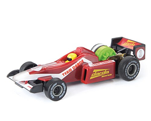 Darda 50304 - Darda Auto Rennwagen Formula rot, ca. 9 cm, Rennauto mit auswechselbaren Rückzugsmotor, Fahrzeug mit Motor zum Aufziehen für Kinder ab 5 Jahre, Aufziehauto für Darda Rennbahnen