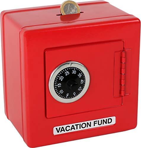 Tresor aus Metall im leuchtend roten Design, mit authentischem schwarzen Zahlenschloss, Spardose verwahrt kleine Kinderschätze sicher