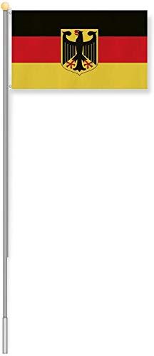 normani Aluminium Fahnenmast 6,20 Meter, inkl. Deutschland-Flagge Größe 6.20 Meter