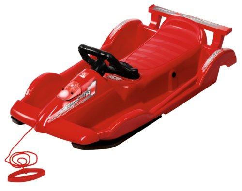 AlpenGaudi Race - Lenkbob Schlitten für Kinder mit Zugseil, Sportlenkrad und Handbremse, rot, 100cm