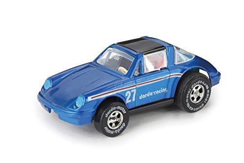 Darda 50330 - Darda Auto Porsche Targa mit Metallgehäuse, blau, ca. 7,3 cm, Rennauto mit auswechselbaren Rückzugsmotor, Fahrzeug mit Motor zum Aufziehen für Kinder ab 5 Jahre, Auto für Dardabahn
