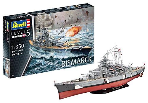 Revell 05040 Bismarck, das größte und modernste Schlachtschiff Seiner Zeit 14 originalgetreuer Modellbausatz für Experten, Schiff, 1:350/71,8 cm