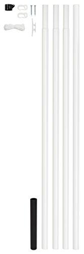 GAH-Alberts 639709 Fahnenmast - zylindrische Form, zum Einbetonieren, zinkphosphatiert, weiß kunststoffbeschichtet, Gesamthöhe: 6150 mm, Rohr-Ø: 42 mm