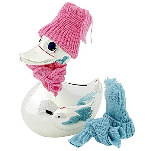 EDZARD Spardose Ente, Sparbüchse mit Schal und Mütze in rosa und hellblau, edel versilbert und anlaufgeschützt, Höhe 13 cm,