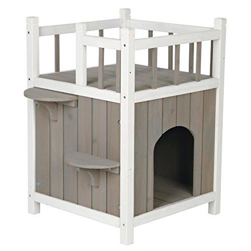 Trixie natura Cat\'s Home mit Balkon, 45 × 65 × 45 cm, grau/weiß