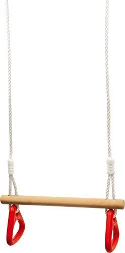 Schaukel mit Turnringen, Kinderschaukel aus Holz, Sitzschaukel und Turngerät in Einem, stabiles Seil mit Metallringen zum Aufhängen, ab 3 Jahre (belastbar bis 70 kg)