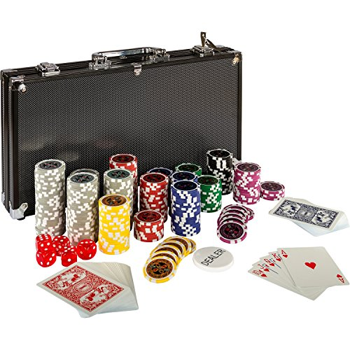 Ultimate Black Edition Pokerset, 300 hochwertige 12 Gramm METALLKERN Laserchips, 100{9ad91f2145851298dadb078e1941b1ba476e5a03632bd421294d016cde8c21f2} PLASTIKKARTEN, 2x Pokerdecks, Alu Pokerkoffer, 5x Würfel, 1x Dealer Button, Poker, Set, Pokerchips, Koffer, Jetons