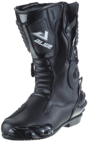 Protectwear TS-006-46 Motorradstiefel Racing aliue, Wasserabweisend aus schwarzem Leder mit aufgesetzten Hartschalenprotektoren, Größe 46, Schwarz