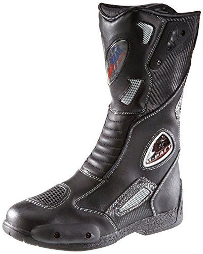 protectWEAR SB-03203-46 Motorradstiefel, Allroundstiefel, Sportstiefel aus Leder, Größe 46, Schwarz