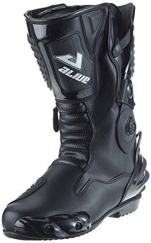 Protectwear TS-006-47 Motorradstiefel Racing aliue, Wasserabweisend aus schwarzem Leder mit aufgesetzten Hartschalenprotektoren, Größe 47, Schwarz
