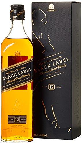 Johnnie Walker Black Label Blended Scotch Whisky - Exklusiver, rauchiger Blended Whisky - Aus den vier Ecken Schottlands direkt ins Glas - In edler Geschenkverpackung - 1 x 0,7l