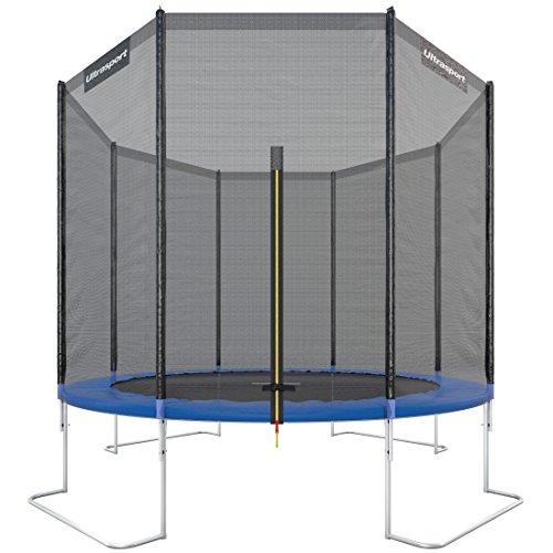 Ultrasport Outdoor Gartentrampolin Jumper, Trampolin Komplettset inklusive Sprungmatte, Sicherheitsnetz, gepolsterten Netzpfosten und Randabdeckung, bis zu 160kg, Blau, Ø 305 cm