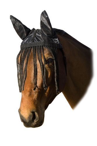 USG Fliegenhaube m. Ohrenschutz und Fransen, schwarz, Pony