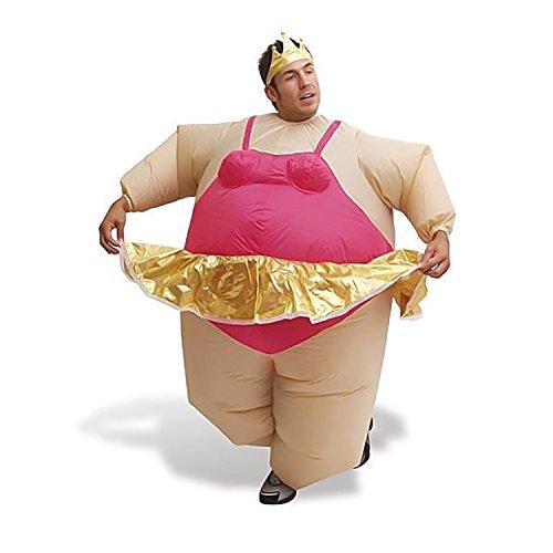 AirSuits AS1069 Aufblasbares Kostüm Fatsuit Ballerina Fasching Karneval, Unisex– Erwachsene, beige/pink/gold, Einheitsgröße