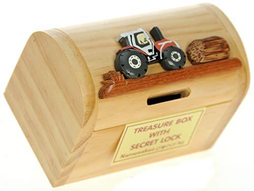 Traktor : Sparschwein Spardose Kinder : Geschenk für Jungen oder Mädchen : Mini Schatztruhe mit Schloss