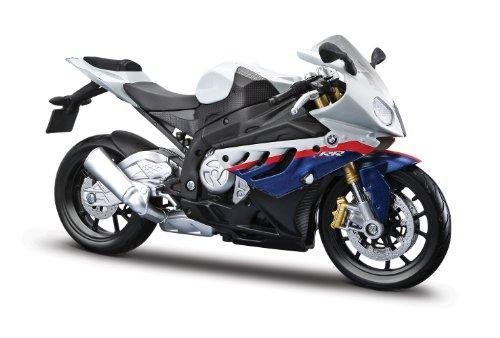 Maisto BMW S1000 RR: Originalgetreues Motorradmodell 1:12, mit beweglichem Ständer, Federung und frei rollenden Rädern, 17 cm, weiß-blau (531191)