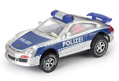 Darda 50341 - Darda Auto Porsche GT3 Polizei blau / silber, Rennauto mit auswechselbaren Rückzugsmotor, Fahrzeug mit Motor zum Aufziehen für Kinder ab 5 Jahre, Aufziehauto für Darda Rennbahnen