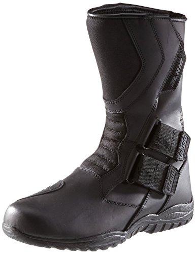 Protectwear TB-ALH-45 Motorradstiefel, Tourenstiefel, Allroundstiefel aus schwarzem Leder mit Klettverschluss, Größe 45, Schwarz
