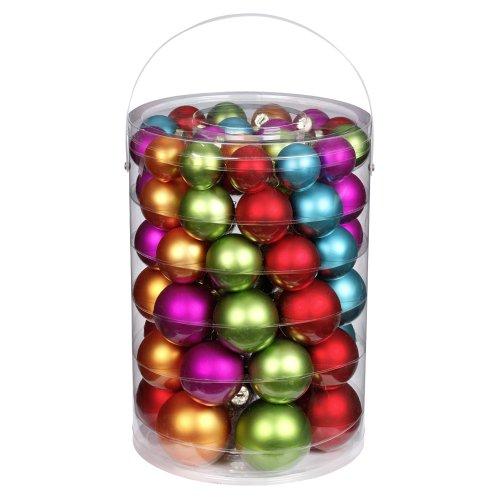 Inge-glas 15058E460 Kugelsortiment 60 Stück/Vorteilsdose Mille Fiori-Mix, 18x4 / 20x5 / 16x6 / 6x7 cm(rot,apfelgrün,türkis,pink,kürbis)