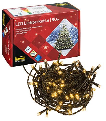 Idena 8325058 - LED Lichterkette mit 80 LED in warm weiß, mit 8 Stunden Timer Funktion, für Partys, Weihnachten, Deko, Hochzeit, als Stimmungslicht, ca. 15,9 m