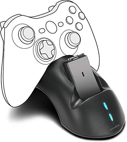 Speedlink BRIDGE USB Charging System - Ladestation inkl. Akkus für Xbox 360 Gamepads (Ladezeit: ca. 1 h - LED Statusanzeigen - zwei Xbox 360 Controller gleichzeitig ladbar) für Gaming/Konsole, schwarz