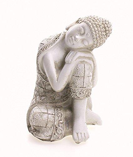 TEMPELWELT Deko Figur Ruhender Buddha Figur sitzend 9 cm, Polystein weiß altweiß, Dekofigur Thai Buddha Gauthama schlafend ruhend Statue Buddhafigur
