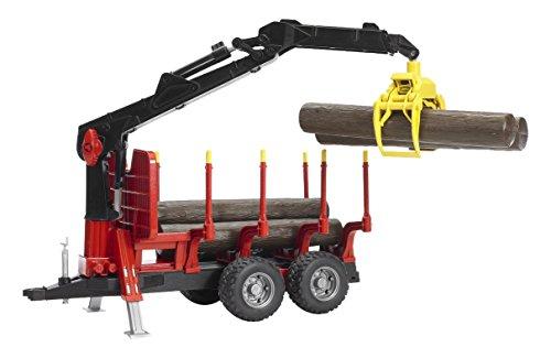 Bruder 3482252 Rückeanhänger mit Ladekran, 4 Baumstämmen und Holzgreifer