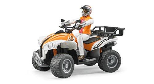 Bruder 63000 - Quad mit Fahrer, mit einem abnehmbaren Gepäckträger, einer Anhängerkupplung und Halterungen für Werkzeuge