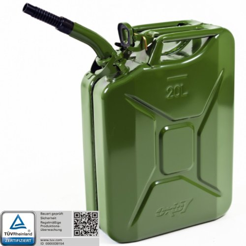 Oxid7 Benzinkanister Kraftstoffkanister Metall 20 L Olivgrün inkl. Ausgießer mit UN-Zulassung - Bauart geprüft