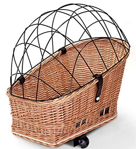 Tigana - Hundefahrradkorb für Gepäckträger aus Weide Natur 60 x 39 cm mit Metallgitter Kissen Holzstück (N-S-H)
