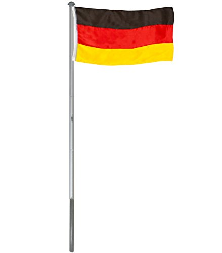 BRUBAKER Aluminium Fahnenmast Flaggenmast 6 m mit Erdhülse + Deutschland Flagge 150 x 90 cm