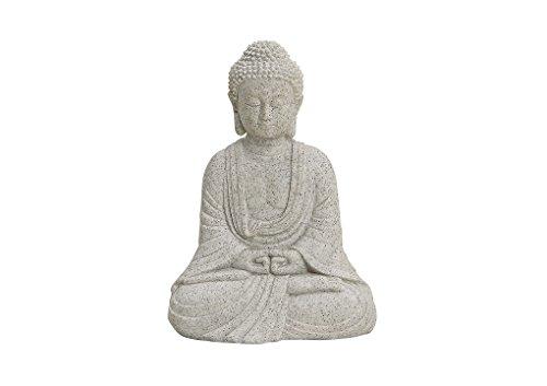 Buddha-Figur sitzend, 13cm in Grau   Deko-Artikel für Wohnung, Haus & Garten   Buddha-Skulptur, Wohnaccessoire ideal als Geschenk   Buddha-Statue Feng Shui Dekoration   Garten-Figur