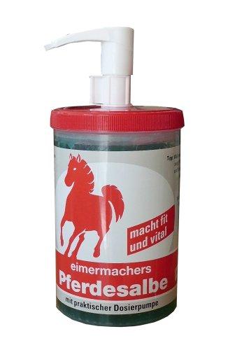 Pferdesalbe EIMERMACHER Pflege 1000ml Kühlt-entspannt, ist durchblutungsfördernd und aktiviert nach Beanspruchung. Macht frisch und vital bei Muskelkater und Verspannung.