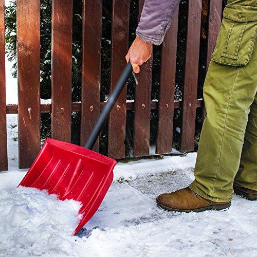 Jago Schneeschaufel (1er/Rot)   mit Alu-Eiskante, inkl. Stiel aus Stahlrohr, in 1er oder 2er, in 3 Farben: Blau, Rot, Schwarz   Schneeschieber, Schneeräumer, Schneeschippe