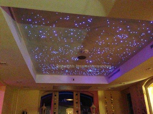 5 Watt Sternenhimmel LED Beleuchtung Corona Star Funk in Glasfaser Optik, 250 Lichtfasern Bausatz Einbau Set einbaufertig mit Kleber für Montage
