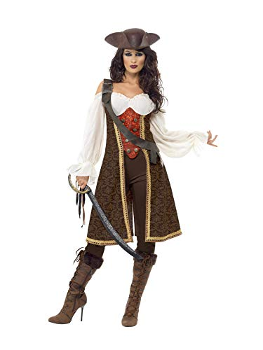 Smiffys, Damen Hochsee Piratin Kostüm, Kleid, Hose und Bandelier - Braun / Weiß / Rot - Größe: L