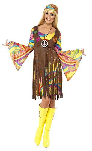 Smiffys, Damen 60er Groovy Lady Kostüm, Kleid, Weste und Stirnband, Hippie, Größe: S, 35531, Braun, S