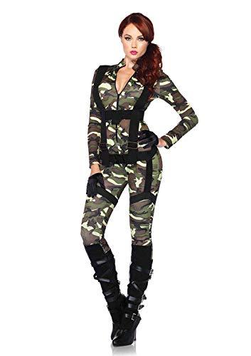 Leg Avenue 85166 - 2Tl. Kostüm Set Hübsche Fallschirmspringer, Größe S, grün, Damen Karneval Kostüm Fasching