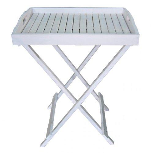 Tablettständer MILTON weiß lackiert Eukalyptus Tabletttisch Tablett mit Ständer Holz