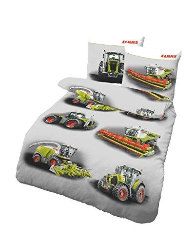 Kinderbettwäsche Jungen 135x200 | CLAAS Traktor & Mähdrescher Design | Biber Bettwäsche 135x200 cm & Kissenbezug 80x80 | Set 2teilig