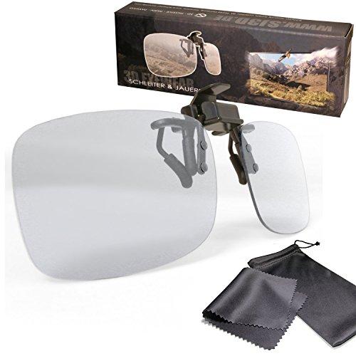 SJ3D Passive 3D Brille - 3D Brillen Clip VERSION 2 - Aufsatz für Brillenträger mit hochwertigen gewölbten Gläser für weniger Lichtreflexionen - Polfilterbrille zirkular polarisiert - Für RealD 3D Kino & TV: LG Cinema 3D Philips Easy 3D Telefunken Toshiba 3D Natural Vizio 3D und 3DTVs von SONY Grundig Panasonic Hisense CMX uvm. - Inkl. Mikrofaser Brillenbeutel und Putztuch