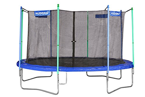 HUDORA Fitness Trampolin/Gartentrampolin, mit Sicherheitsnetz, blau/grün, 400 cm, 65400