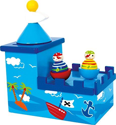 Spieluhr mit Spardose Olli & Bolli aus Holz, im kindgerechten Piratendesign, fördert die Freude an der Musik und schafft eine positive Sparquote, gesichert durch ein Schloss