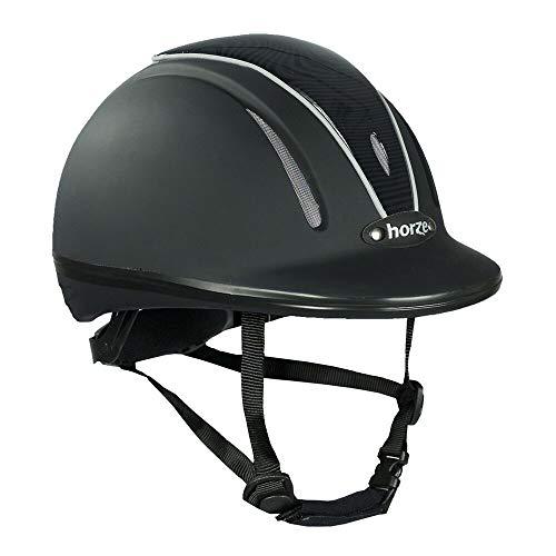 horze Pacific Reithelm Verstellbarer Helm VG1 Defenze, Schwarz/Schwarz(BL/BL), XS-S