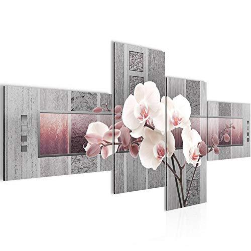 Bilder Blumen Orchidee Wandbild 150 x 60 cm Vlies - Leinwand Bild XXL Format Wandbilder Wohnzimmer Wohnung Deko Kunstdrucke Rosa Grau 4 Teilig - MADE IN GERMANY - Fertig zum Aufhängen 204645c