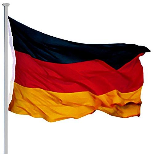 Deuba Aluminium Teleskop Fahnenmast 6,50m inkl Seilzug inkl Deutschlandfahne Flaggenmast Mast Flagge Alu