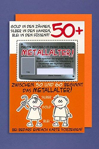 Grußkarte 50+ Geburtstag Karte Humor Applikation Scheckkarte Metallalter C6