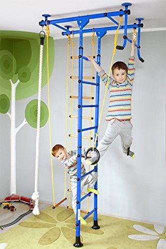 NiroSport FitTop M1 Indoor Klettergerüst für Kinder Sprossenwand für Kinderzimmer Turnwand Kletterwand, TÜV geprüft, kinderleichte Montage, max. Belastung bis ca. 130 kg (Blau)