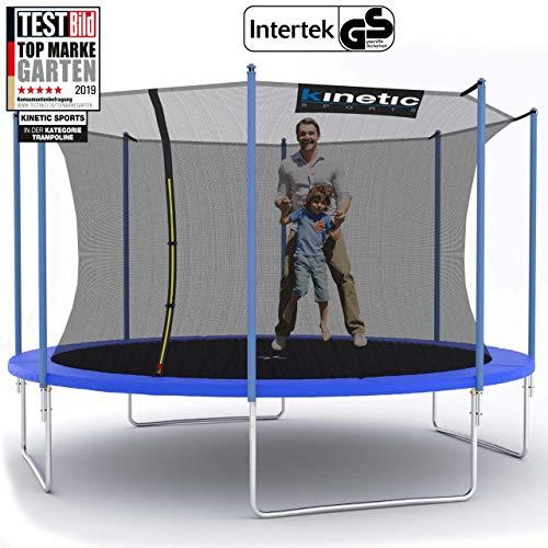 Kinetic Sports Outdoor Gartentrampolin Ø 400 cm, TPLH13, Komplettset inklusive Sprungtuch aus USA PP-Mesh +Sicherheitsnetz +Randabdeckung, bis 160kg, GS-geprüft,UV-beständig, BLAU